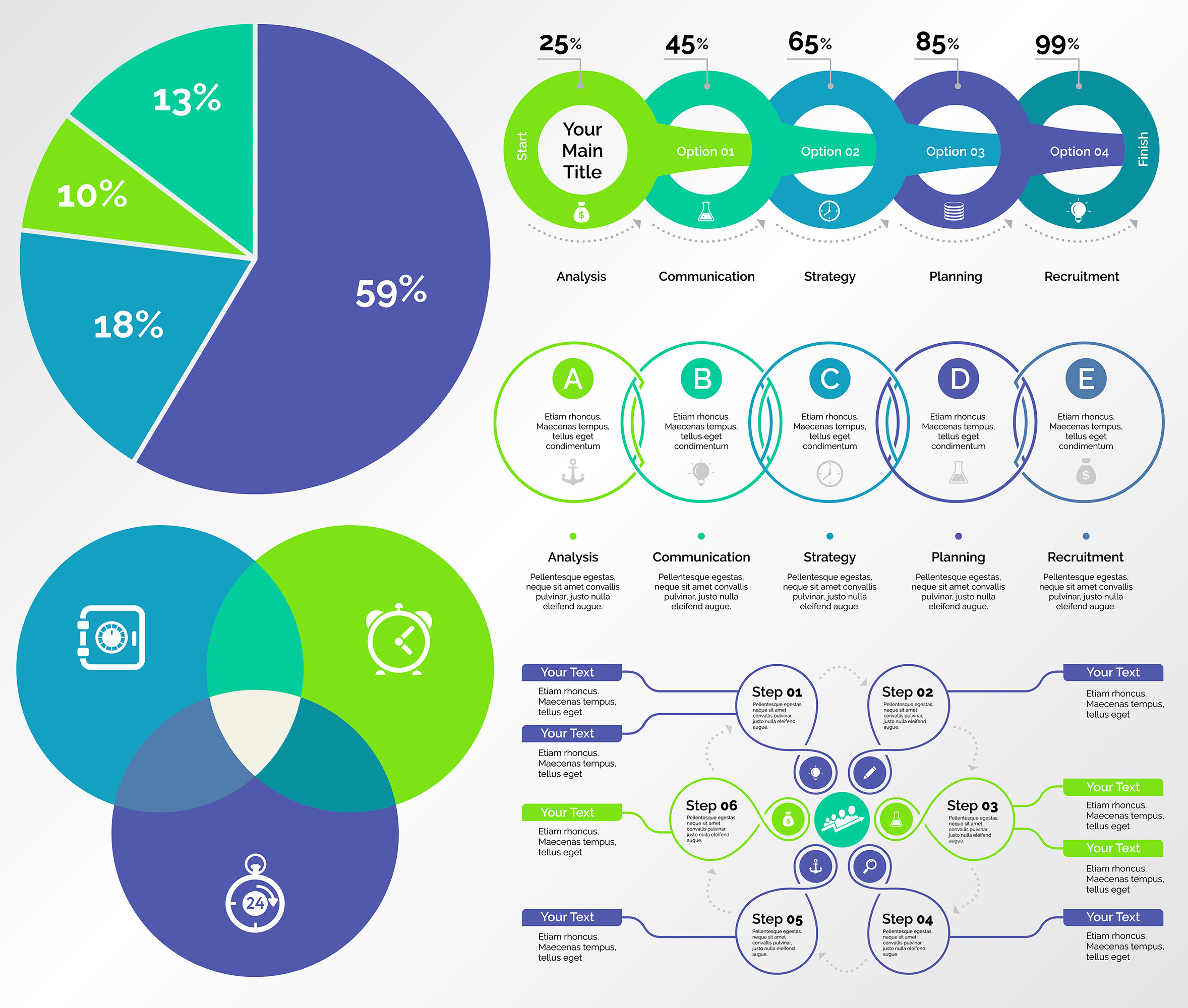Infographic design set can be used for workflow layout, diagram, annual report, presentation, web design. Business and accounting concept with process, pie and percentage charts.